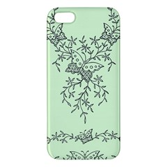 Illustration Of Butterflies And Flowers Ornament On Green Background Apple Iphone 5 Premium Hardshell Case