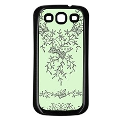 Illustration Of Butterflies And Flowers Ornament On Green Background Samsung Galaxy S3 Back Case (black) by BangZart