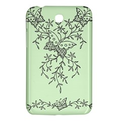 Illustration Of Butterflies And Flowers Ornament On Green Background Samsung Galaxy Tab 3 (7 ) P3200 Hardshell Case  by BangZart