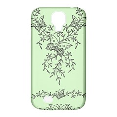 Illustration Of Butterflies And Flowers Ornament On Green Background Samsung Galaxy S4 Classic Hardshell Case (pc+silicone)