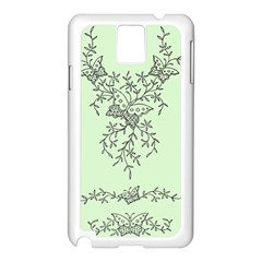 Illustration Of Butterflies And Flowers Ornament On Green Background Samsung Galaxy Note 3 N9005 Case (white)