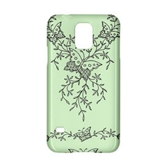 Illustration Of Butterflies And Flowers Ornament On Green Background Samsung Galaxy S5 Hardshell Case  by BangZart