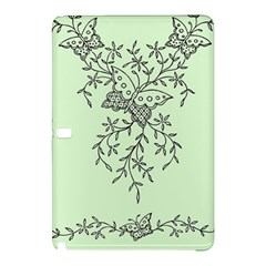 Illustration Of Butterflies And Flowers Ornament On Green Background Samsung Galaxy Tab Pro 10 1 Hardshell Case by BangZart