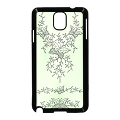 Illustration Of Butterflies And Flowers Ornament On Green Background Samsung Galaxy Note 3 Neo Hardshell Case (black)