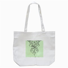 Illustration Of Butterflies And Flowers Ornament On Green Background Tote Bag (white) by BangZart