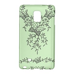 Illustration Of Butterflies And Flowers Ornament On Green Background Galaxy Note Edge