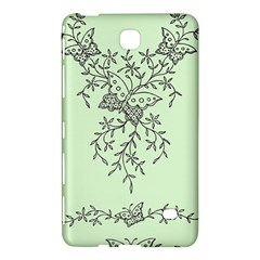 Illustration Of Butterflies And Flowers Ornament On Green Background Samsung Galaxy Tab 4 (8 ) Hardshell Case
