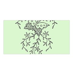 Illustration Of Butterflies And Flowers Ornament On Green Background Satin Shawl by BangZart