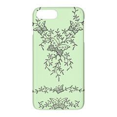 Illustration Of Butterflies And Flowers Ornament On Green Background Apple Iphone 7 Plus Hardshell Case by BangZart