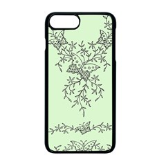 Illustration Of Butterflies And Flowers Ornament On Green Background Apple Iphone 7 Plus Seamless Case (black) by BangZart