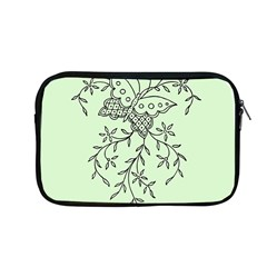 Illustration Of Butterflies And Flowers Ornament On Green Background Apple Macbook Pro 13  Zipper Case