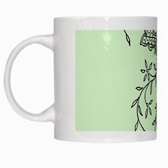 Illustration Of Butterflies And Flowers Ornament On Green Background White Mugs by BangZart