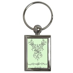 Illustration Of Butterflies And Flowers Ornament On Green Background Key Chains (rectangle)  by BangZart