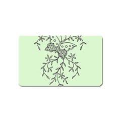 Illustration Of Butterflies And Flowers Ornament On Green Background Magnet (name Card) by BangZart