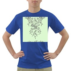 Illustration Of Butterflies And Flowers Ornament On Green Background Dark T Shirt