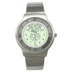 Illustration Of Butterflies And Flowers Ornament On Green Background Stainless Steel Watch