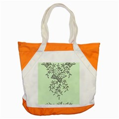 Illustration Of Butterflies And Flowers Ornament On Green Background Accent Tote Bag