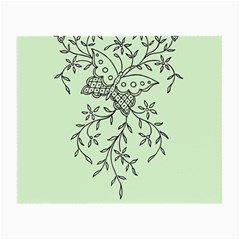 Illustration Of Butterflies And Flowers Ornament On Green Background Small Glasses Cloth (2 Side)
