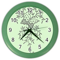Illustration Of Butterflies And Flowers Ornament On Green Background Color Wall Clocks by BangZart