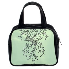 Illustration Of Butterflies And Flowers Ornament On Green Background Classic Handbags (2 Sides) by BangZart