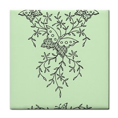 Illustration Of Butterflies And Flowers Ornament On Green Background Face Towel by BangZart