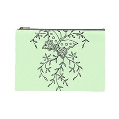 Illustration Of Butterflies And Flowers Ornament On Green Background Cosmetic Bag (large)