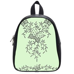 Illustration Of Butterflies And Flowers Ornament On Green Background School Bags (small)  by BangZart