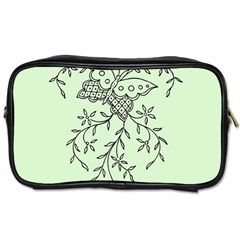 Illustration Of Butterflies And Flowers Ornament On Green Background Toiletries Bags by BangZart
