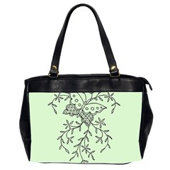 Illustration Of Butterflies And Flowers Ornament On Green Background Office Handbags (2 Sides)