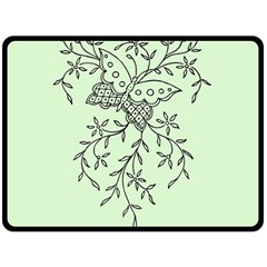 Illustration Of Butterflies And Flowers Ornament On Green Background Fleece Blanket (large)