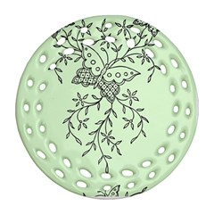 Illustration Of Butterflies And Flowers Ornament On Green Background Round Filigree Ornament (two Sides)