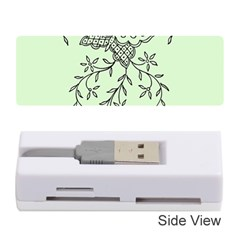 Illustration Of Butterflies And Flowers Ornament On Green Background Memory Card Reader (stick)