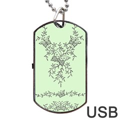 Illustration Of Butterflies And Flowers Ornament On Green Background Dog Tag Usb Flash (one Side) by BangZart