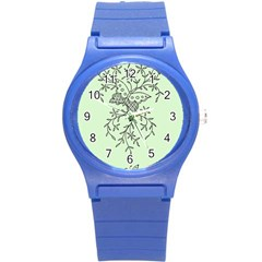 Illustration Of Butterflies And Flowers Ornament On Green Background Round Plastic Sport Watch (s) by BangZart