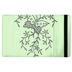 Illustration Of Butterflies And Flowers Ornament On Green Background Apple Ipad 2 Flip Case