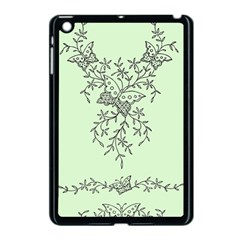 Illustration Of Butterflies And Flowers Ornament On Green Background Apple Ipad Mini Case (black) by BangZart