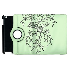 Illustration Of Butterflies And Flowers Ornament On Green Background Apple Ipad 3/4 Flip 360 Case by BangZart