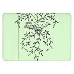 Illustration Of Butterflies And Flowers Ornament On Green Background Samsung Galaxy Tab 8 9  P7300 Flip Case