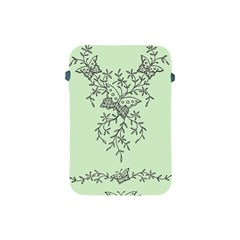 Illustration Of Butterflies And Flowers Ornament On Green Background Apple Ipad Mini Protective Soft Cases by BangZart