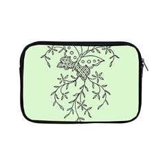 Illustration Of Butterflies And Flowers Ornament On Green Background Apple Ipad Mini Zipper Cases