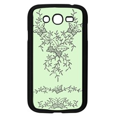 Illustration Of Butterflies And Flowers Ornament On Green Background Samsung Galaxy Grand Duos I9082 Case (black)