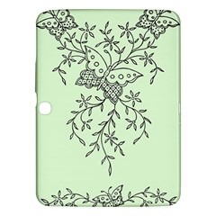 Illustration Of Butterflies And Flowers Ornament On Green Background Samsung Galaxy Tab 3 (10 1 ) P5200 Hardshell Case  by BangZart