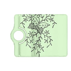 Illustration Of Butterflies And Flowers Ornament On Green Background Kindle Fire Hd (2013) Flip 360 Case by BangZart