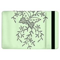 Illustration Of Butterflies And Flowers Ornament On Green Background Ipad Air Flip by BangZart