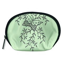 Illustration Of Butterflies And Flowers Ornament On Green Background Accessory Pouches (medium)  by BangZart