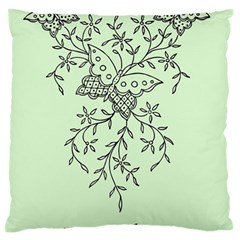 Illustration Of Butterflies And Flowers Ornament On Green Background Standard Flano Cushion Case (two Sides) by BangZart