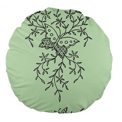 Illustration Of Butterflies And Flowers Ornament On Green Background Large 18  Premium Flano Round Cushions by BangZart