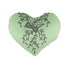 Illustration Of Butterflies And Flowers Ornament On Green Background Standard 16  Premium Flano Heart Shape Cushions by BangZart