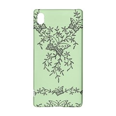 Illustration Of Butterflies And Flowers Ornament On Green Background Sony Xperia Z3+