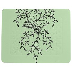 Illustration Of Butterflies And Flowers Ornament On Green Background Jigsaw Puzzle Photo Stand (rectangular) by BangZart
